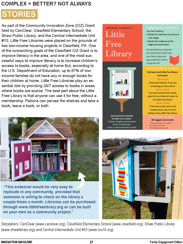CenClear Little Libraries Children Innovation Magazine